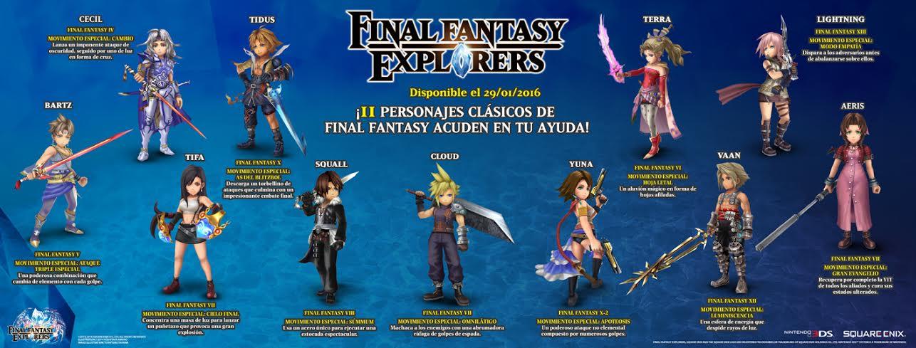 Final Fantasy Explorers infografia