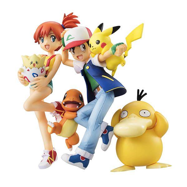 Ash, Pikachu y Charmander & Misty, Togepi y Psyduck