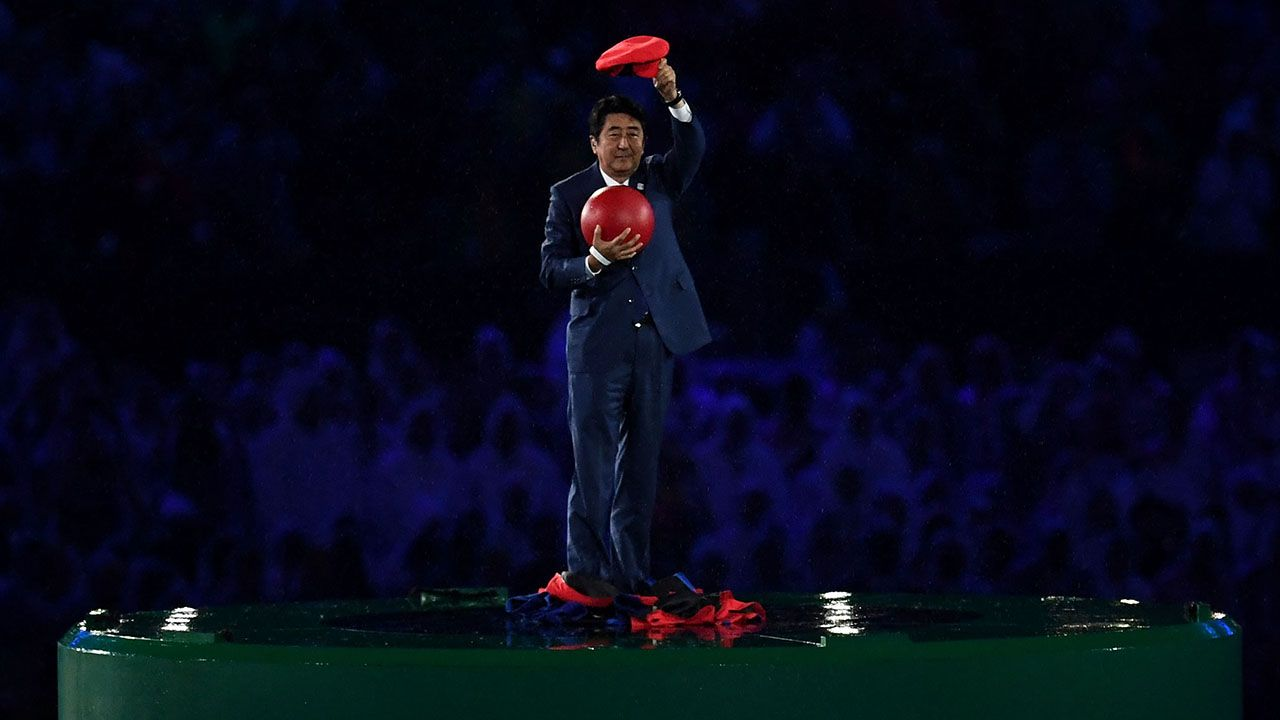 RIO DE JANEIRO, BRAZIL - AUGUST 21: Japan Prime Minister Shinzo Abe appears during the 'Love Sport Tokyo 2020' segment during the Closing Ceremony on Day 16 of the Rio 2016 Olympic Games at Maracana Stadium on August 21, 2016 in Rio de Janeiro, Brazil. (Photo by David Ramos/Getty Images)